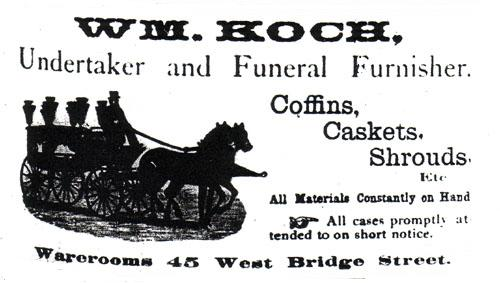 Wm. Koch, Undertaker and Funeral Furnisher, 1875