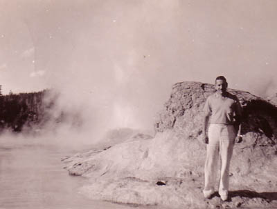 Ed, Old Faithful, Yellowstone, 1938