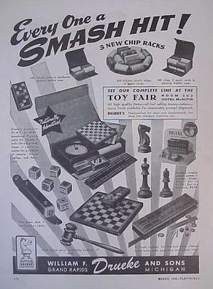 Drueke ad in Playthings magazine, March 1946