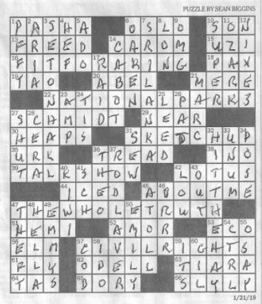 Sean Biggins crossword