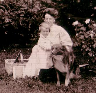 Rose Drueke and Irene with dog and roses